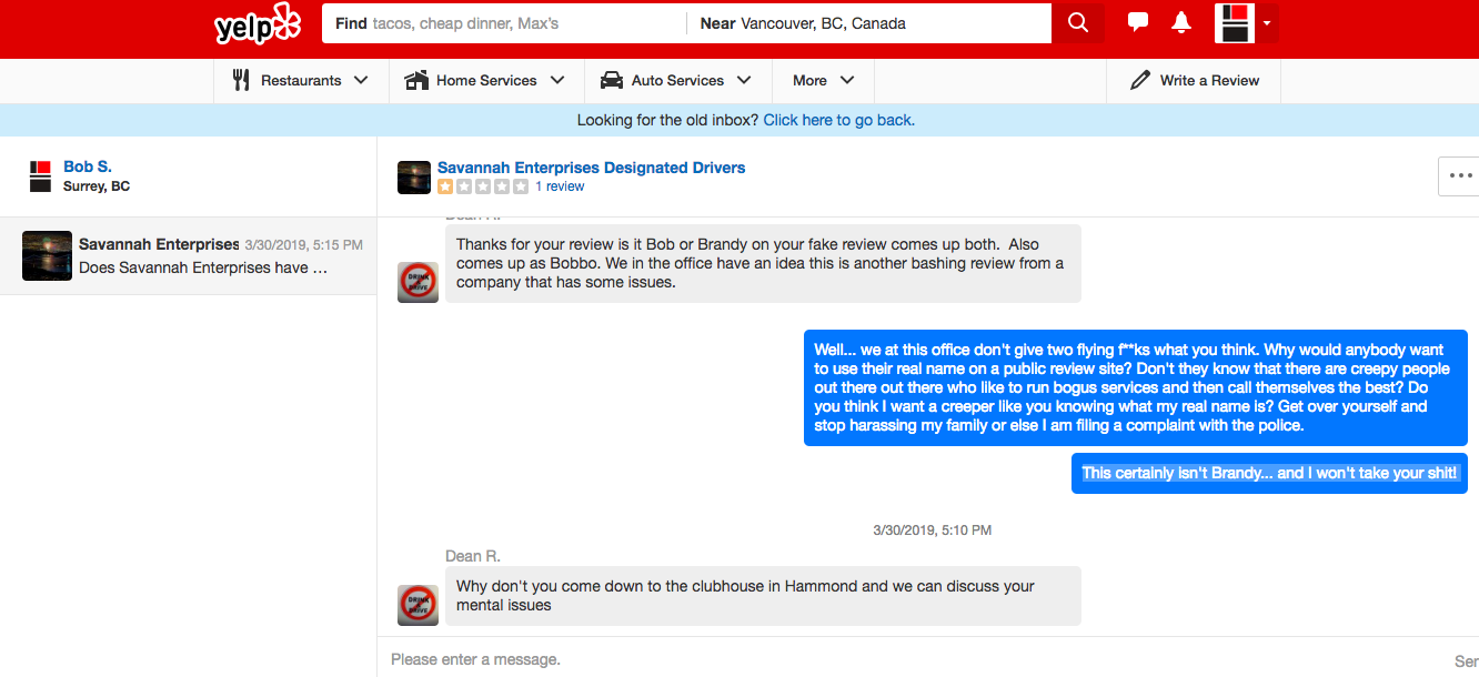 Savannah Designated Driver Threatens Yelp Reviewer 2 of 2