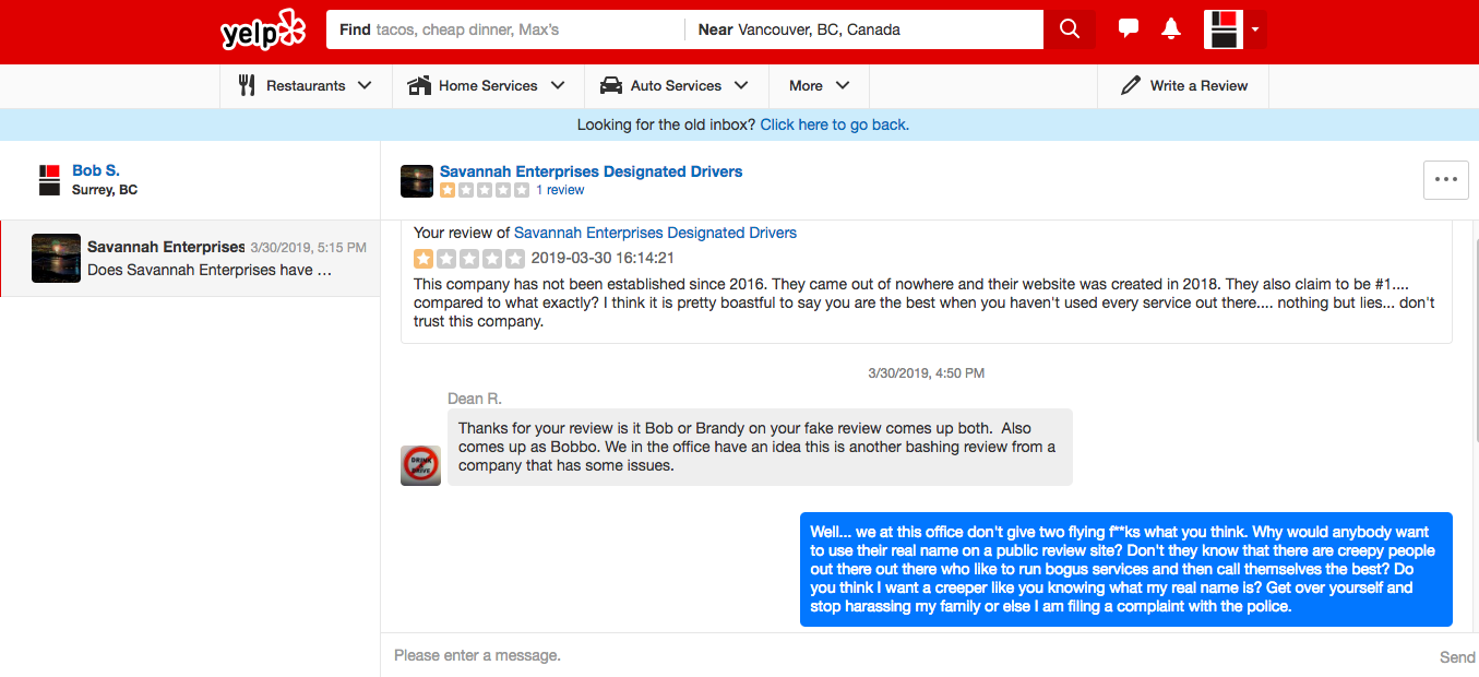 Savannah Designated Driver Threatens Yelp Reviewer 1 of 2
